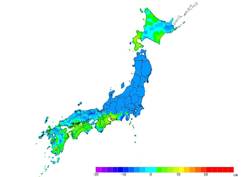 日本全国(沖縄除く)-変動量(高さ)_2011