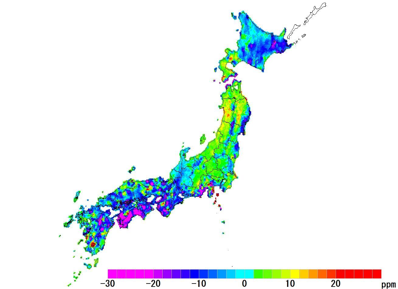 日本全国(沖縄除く)-面積_2016