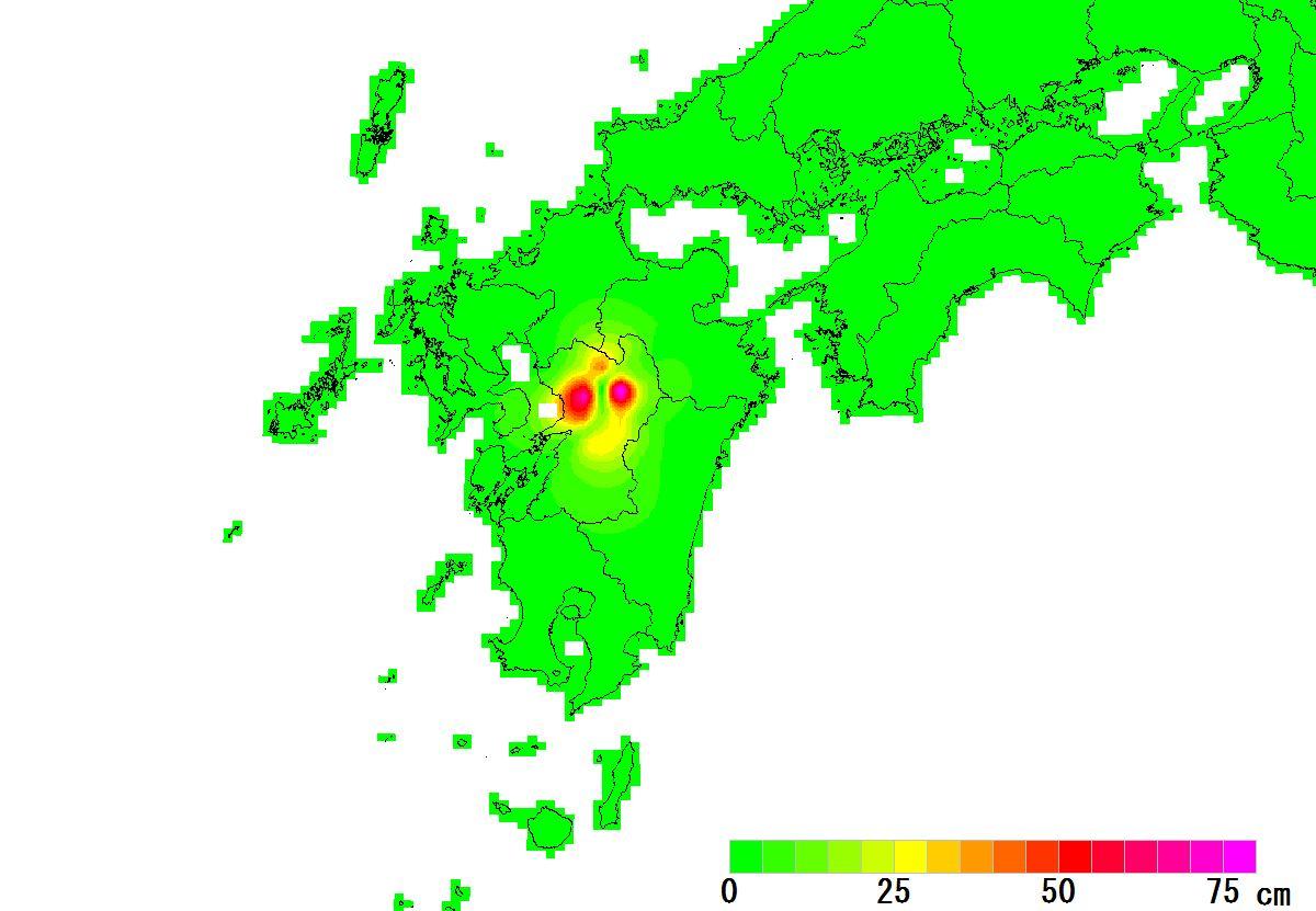 九州-変動量(水平)_2016_5cm