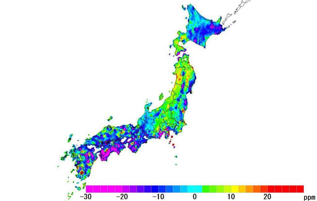 日本全国(沖縄除く)-面積_2018