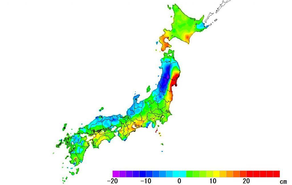 日本全国(沖縄除く)-変動量(高さ)_2018