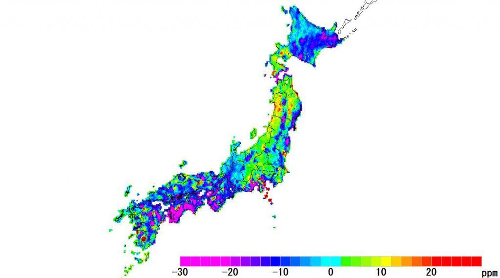 日本全国(沖縄除く)-面積_2020