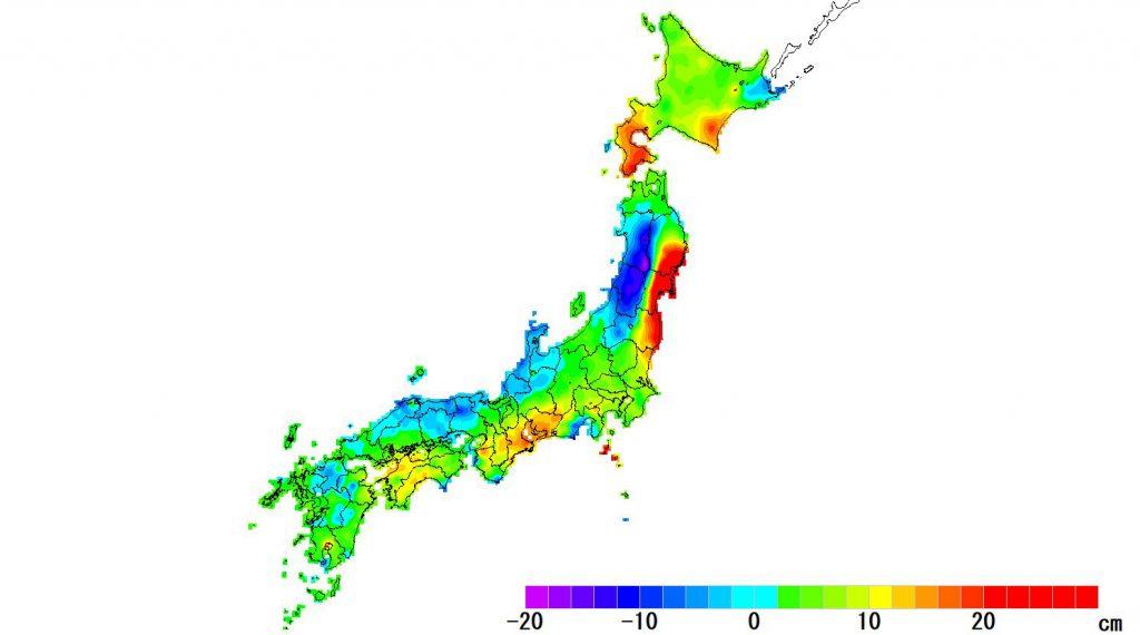 日本全国(沖縄除く)-変動量(高さ)_2020